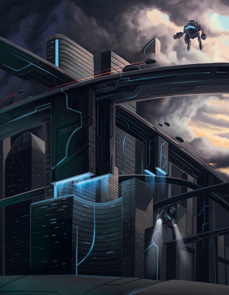 Ciudad Futurista Finalrgb by wilson-naraku
