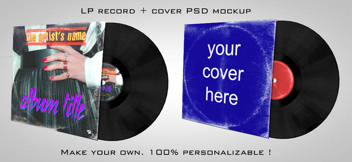 LP vinyle record + cover PSD mockup