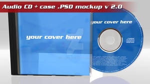 audio CD + case PSD template Mockup