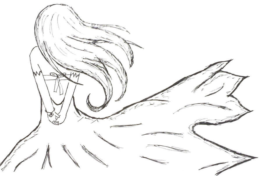 It is a picture of Hilaire Girl Back View Drawing