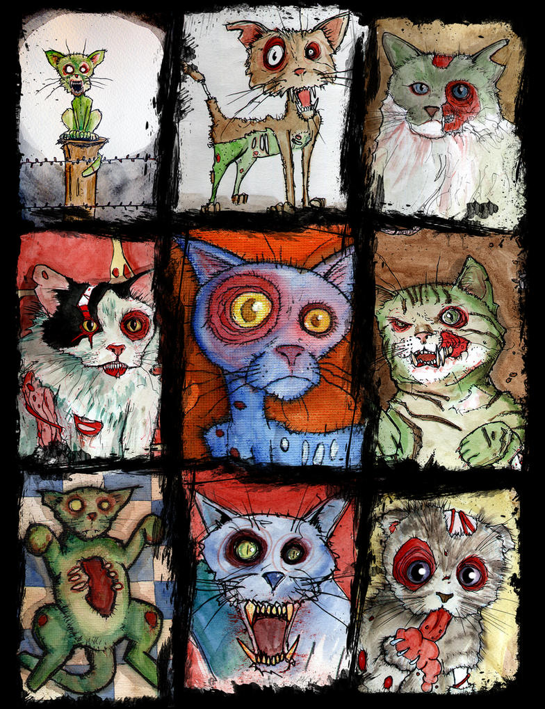 9 zombie cats by BYRONvonREMPEL