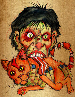 zombie eating bacon cat by BYRONvonREMPEL