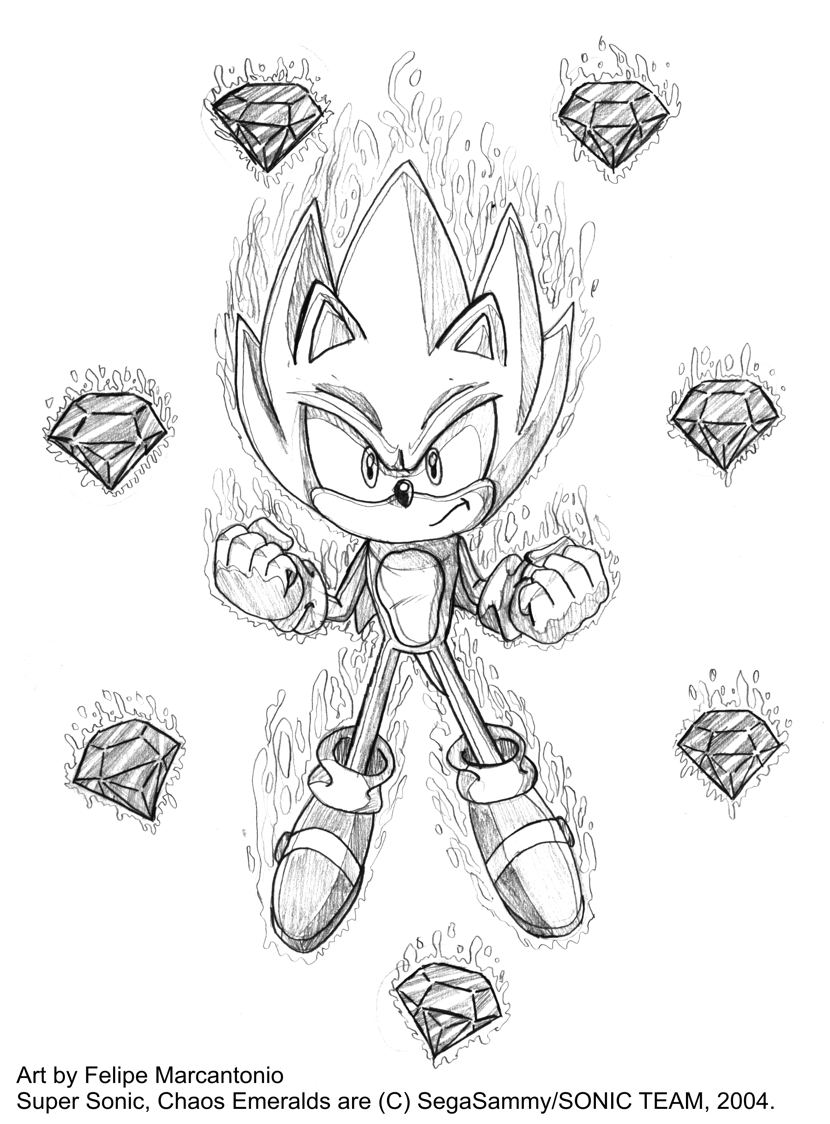 Super sonic and the 7 chaos by yuski on deviantart for Super sonic the hedgehog coloring pages
