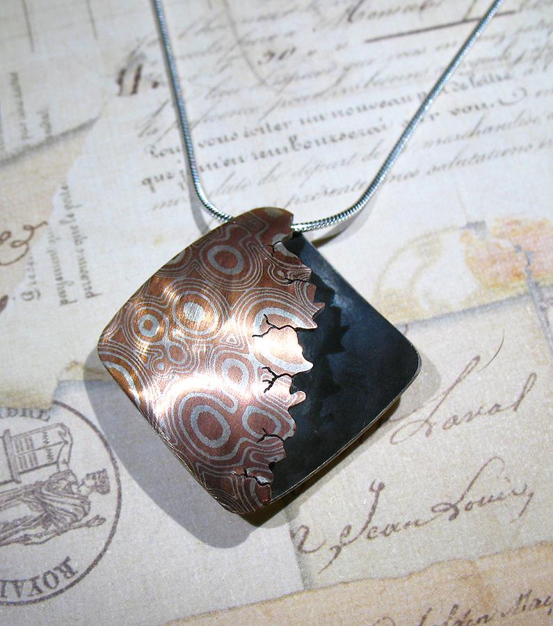 Sterling silver and copper mokume gane pendant by utinni on deviantart sterling silver and copper mokume gane pendant by utinni aloadofball Gallery