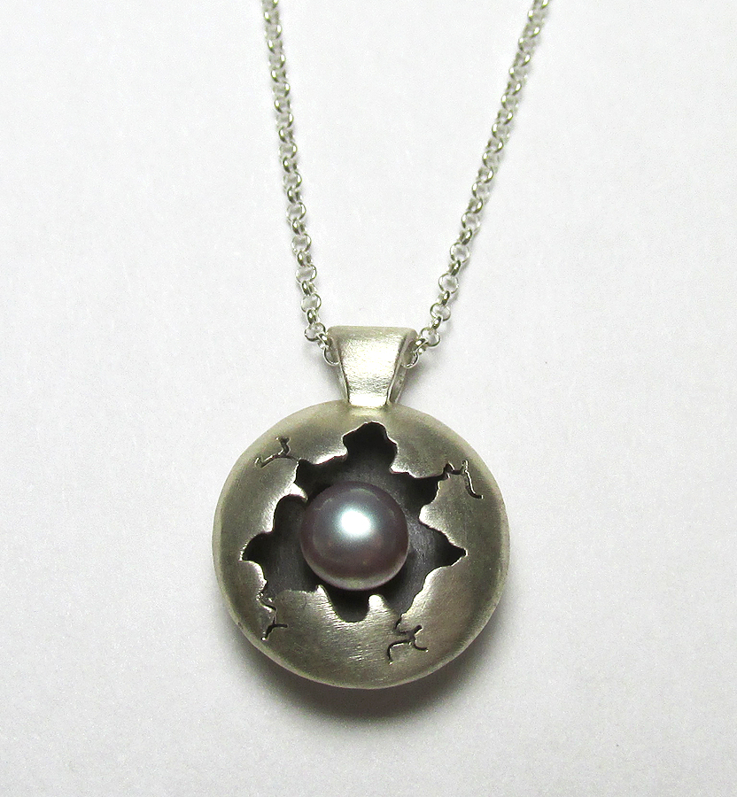 Tiny Cracked Pink Fresh Water Pearl Cracked Pendan by Utinni
