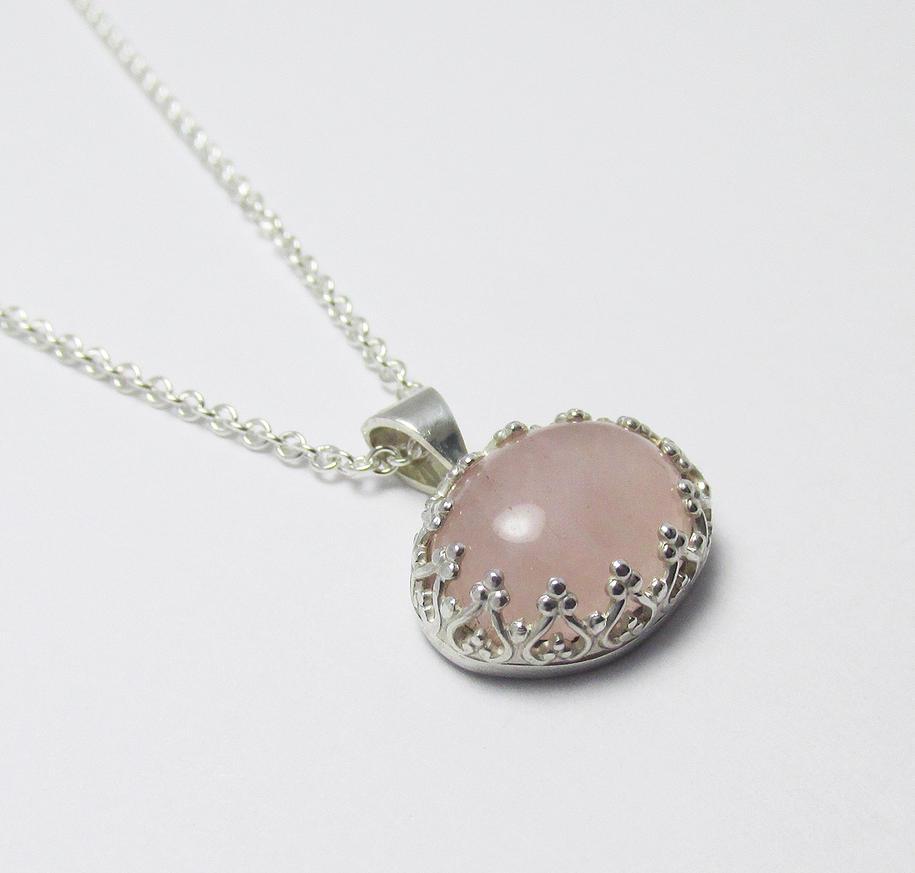 Rose Quartz Sterling Silver Filigree Pendant by Utinni