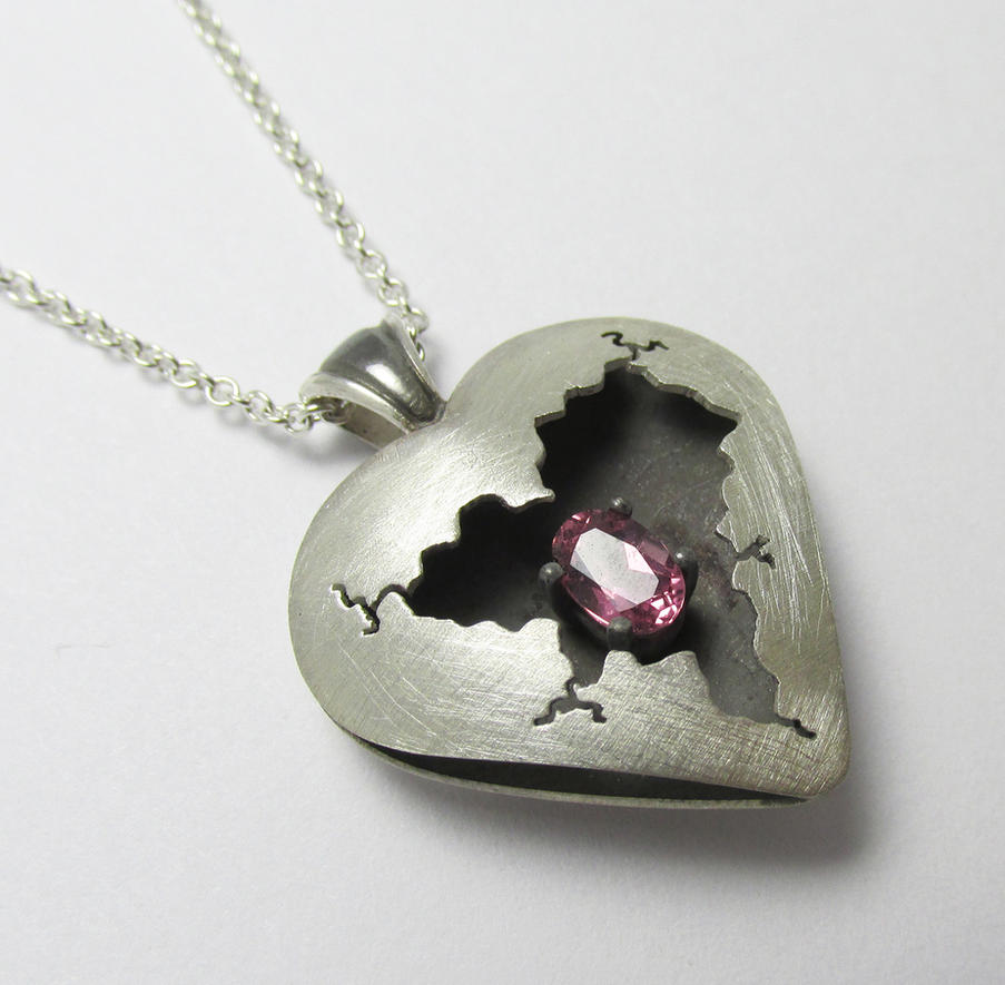 Pink Tourmaline Cracked Heart Pendant by Utinni
