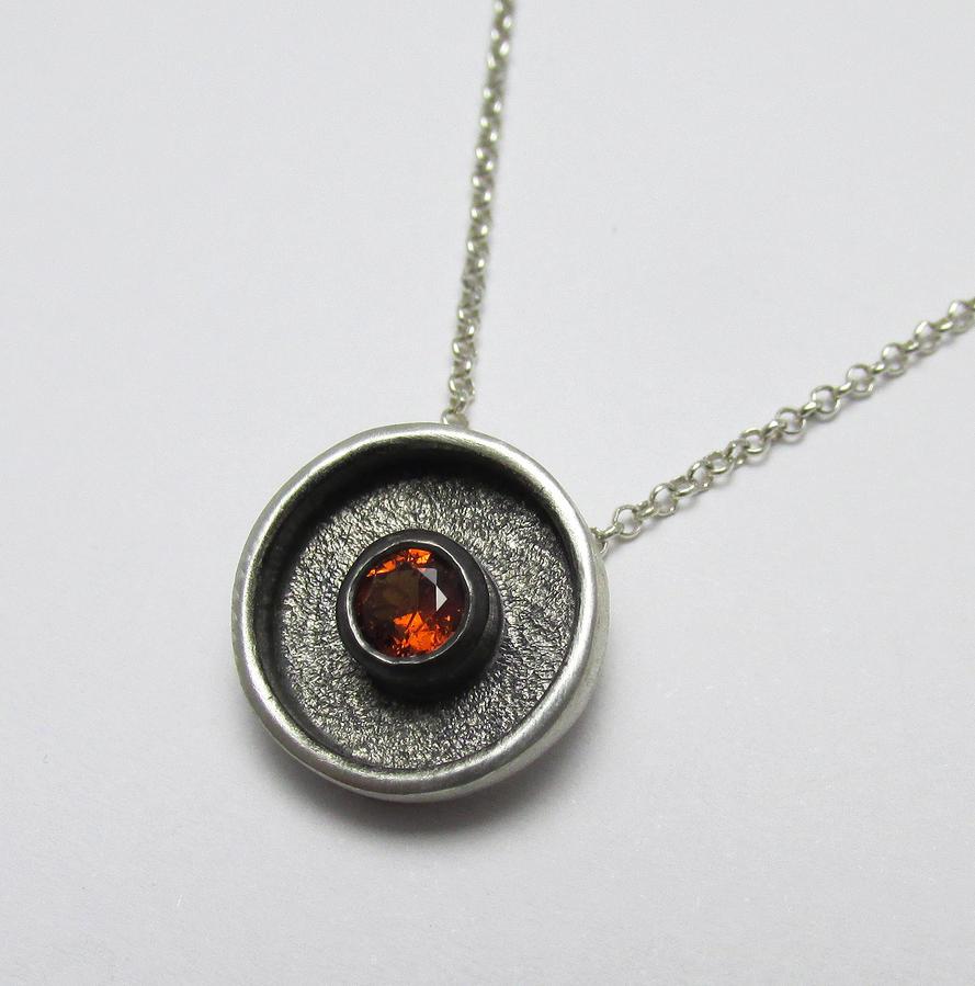 Spessartite Orange Garnet textured Pendant by Utinni