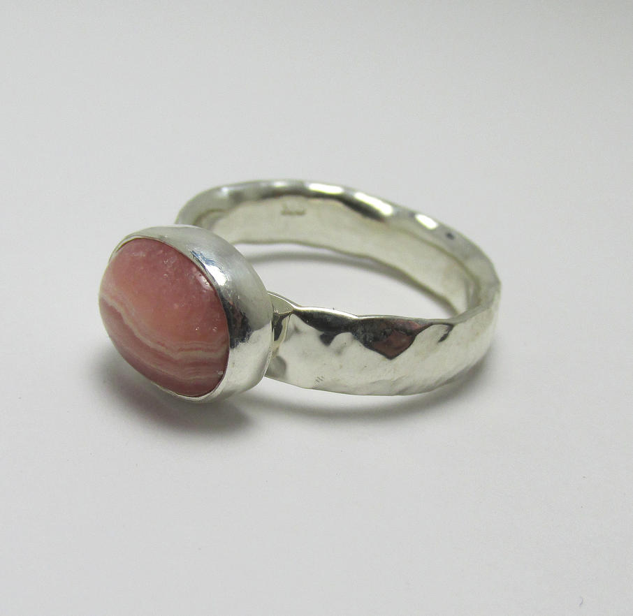 Rhodochrosite cabochon bezel set Hammered ring by Utinni