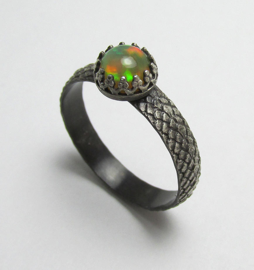Ethiopian Opal Dragonscale ring by Utinni