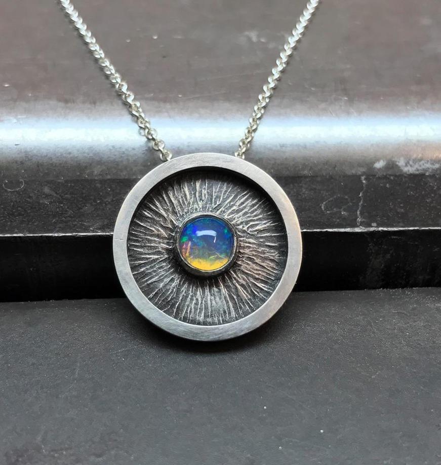Ethiopian Opal hand forged pendant by Utinni