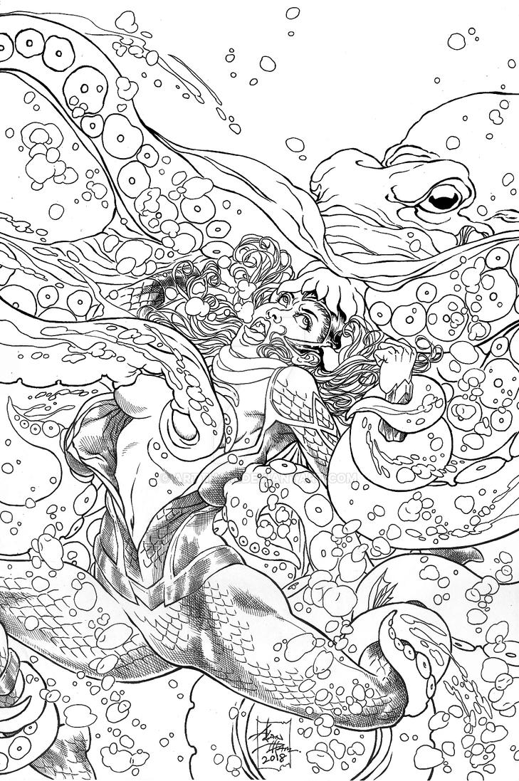 Queen Mera Ambushed Inks Commission by ARTTHAM