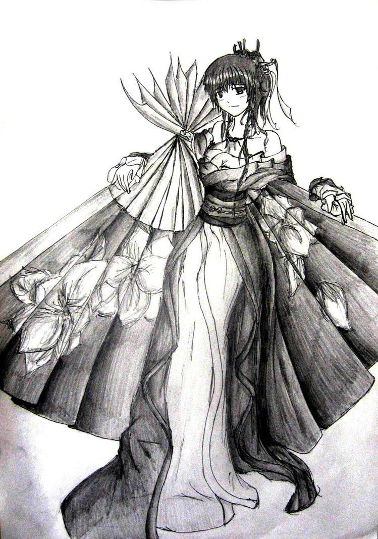 Girl with fan by NiGhTFoGJ