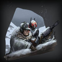 Mountain Corp_sniper and servo-skull spotter by LordCarmi