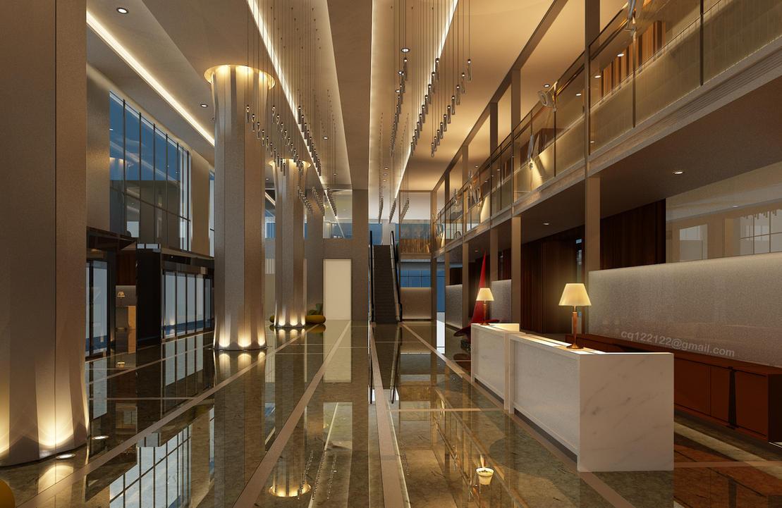 Hotel lobby design night by douglasdao on deviantart for Villa lobby interior design