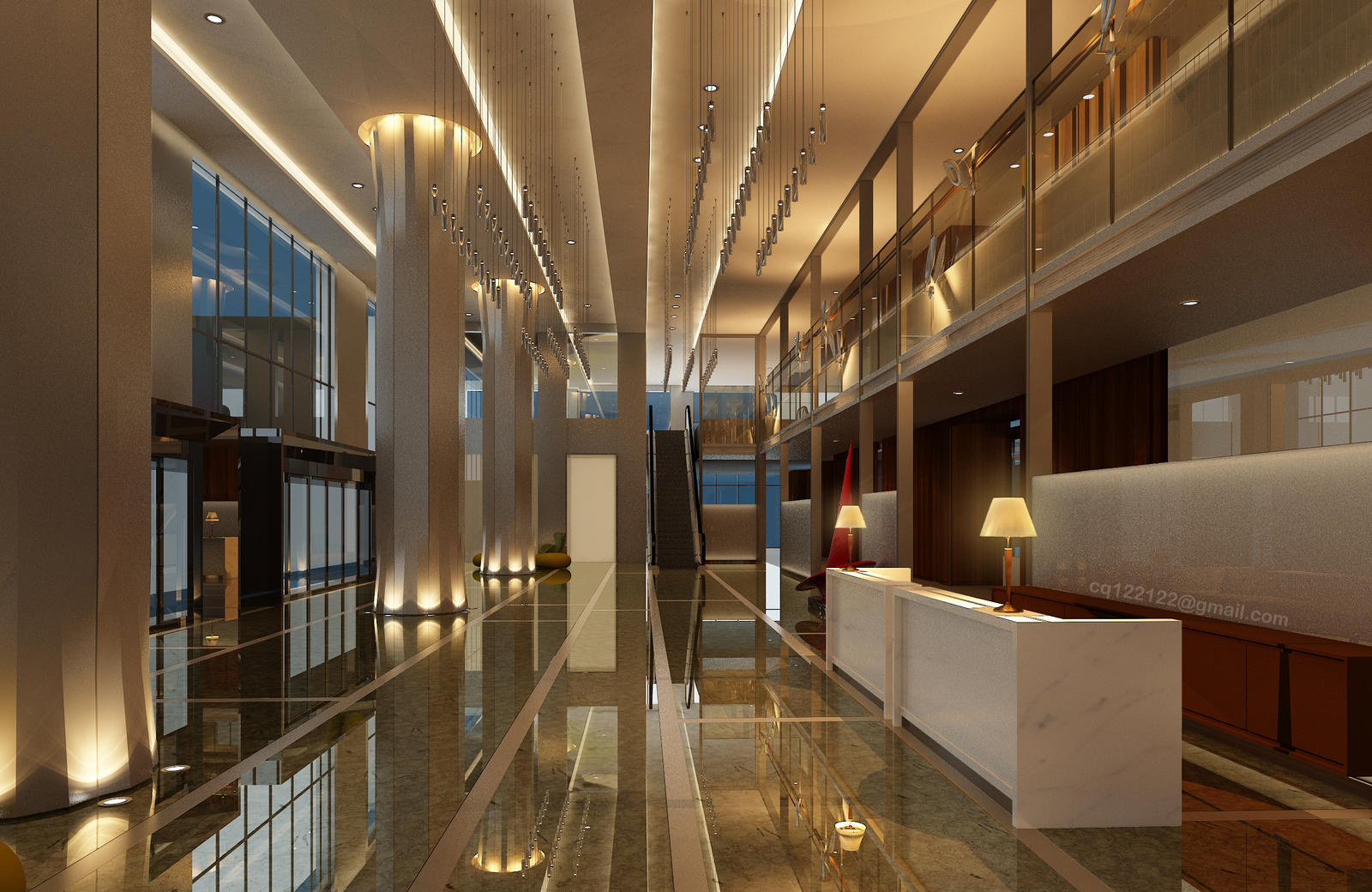Hotel lobby design night by douglasdao on deviantart for Business hotel design