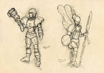 Soldiers: human infantry and hybrid wasp by ephebox