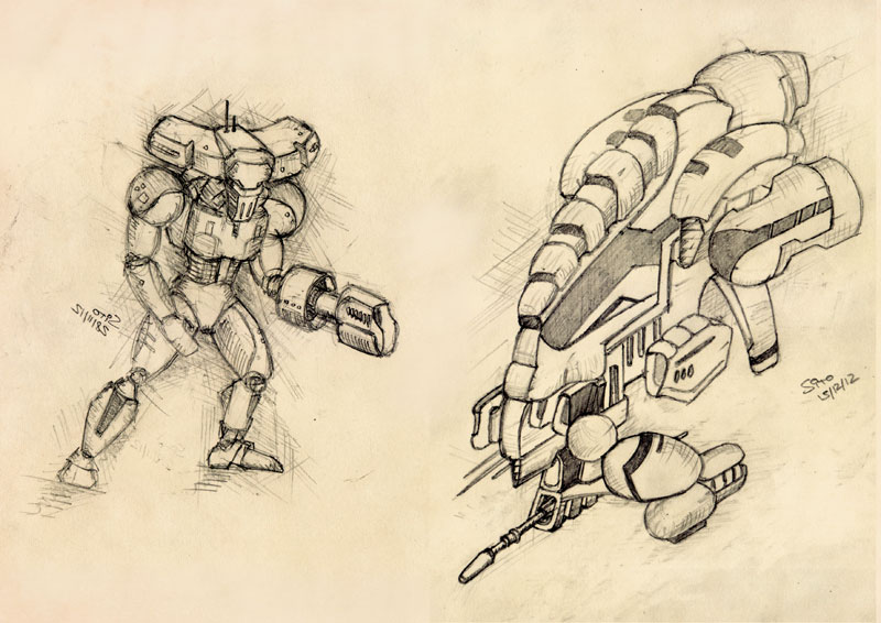 mech and UAV by ephebox