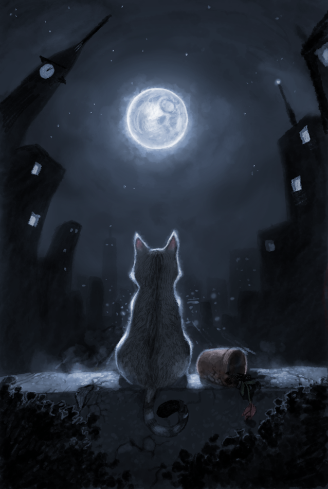 Love Cats Moon Cat Moon by Henkkab