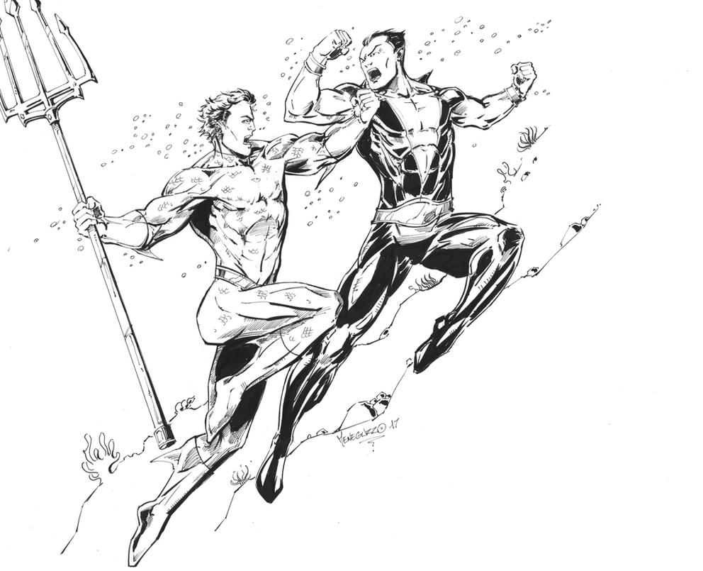 Aquaman Vs Namor by MenguzzOArt