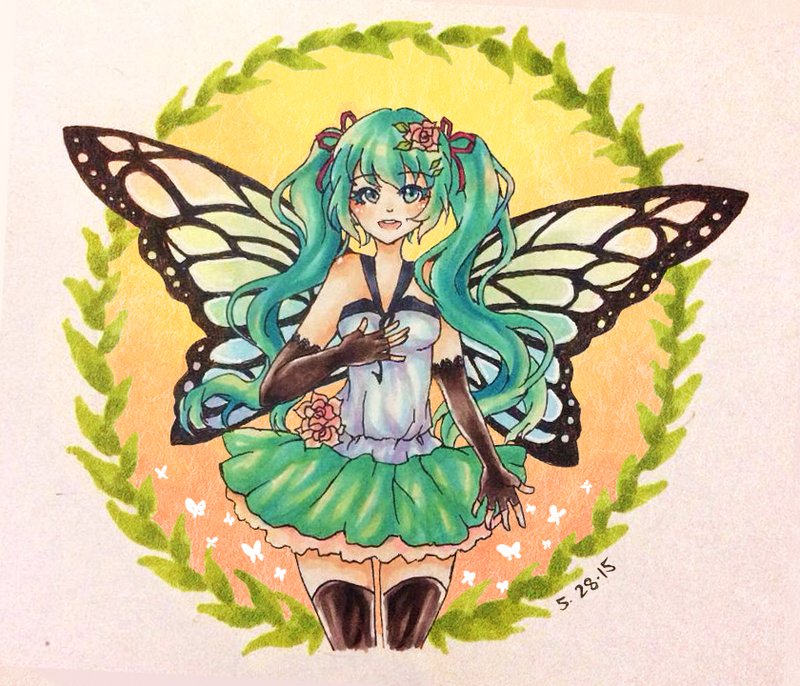 Butterfly Miku by DivineDEFINATION