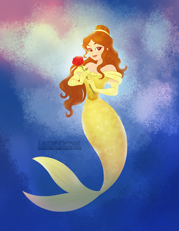 Princess Belle as a Mermaid by courtneymermaid