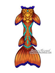 Orange Dragon Mermaid Tail by courtneymermaid