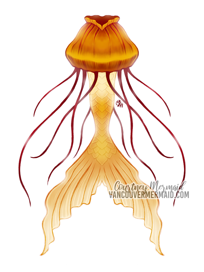 Jellyfish Mermaid Tail by courtneymermaid