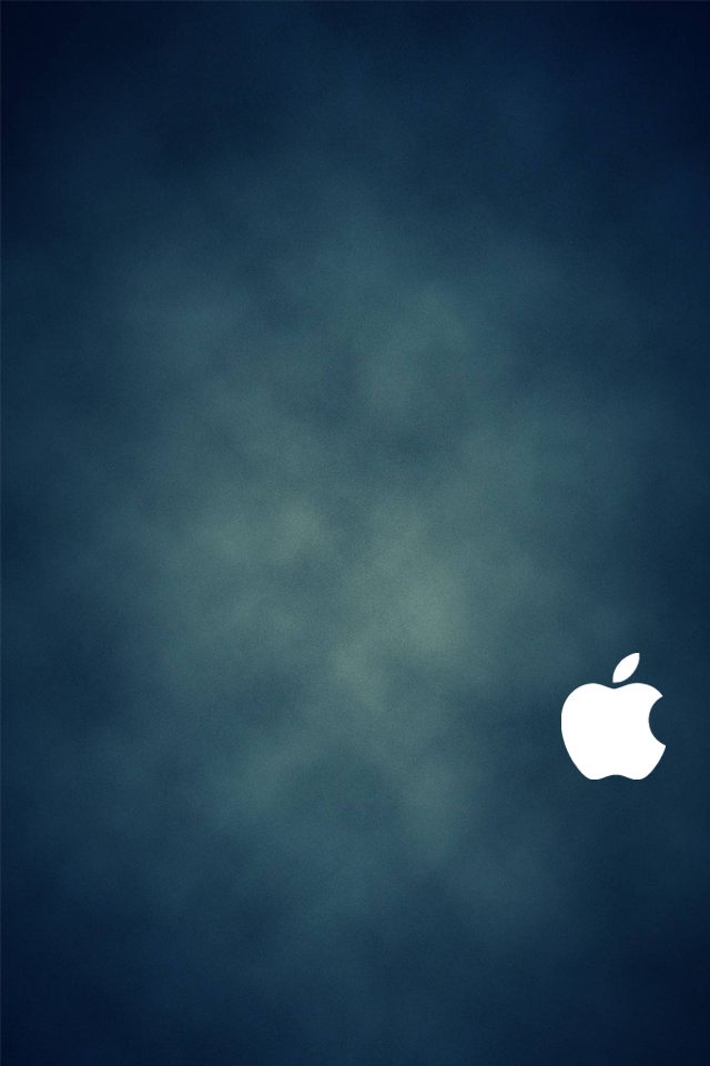 IPhone 4S Blue Wallpaper White Logo By SimpleWallpapers