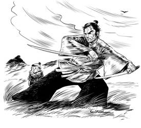 Lone Wolf and Cub Inktober16 by Sgrum