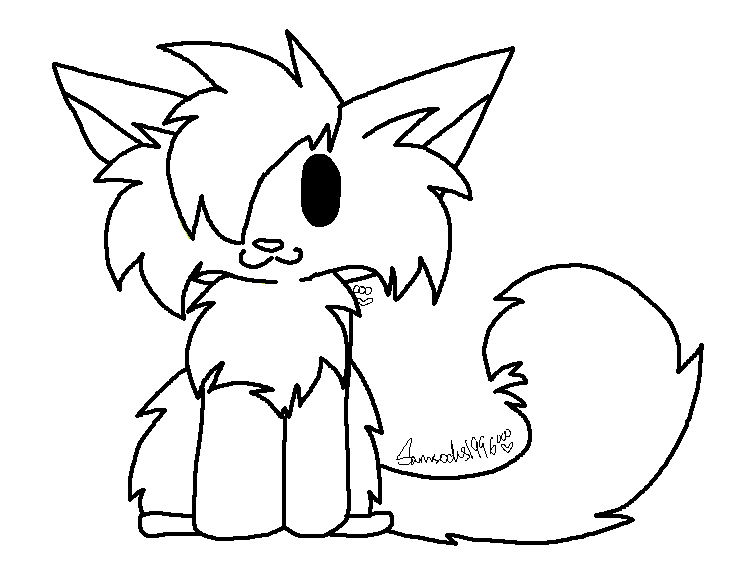Chibi Wolf Lineart by Easy Chibi Base