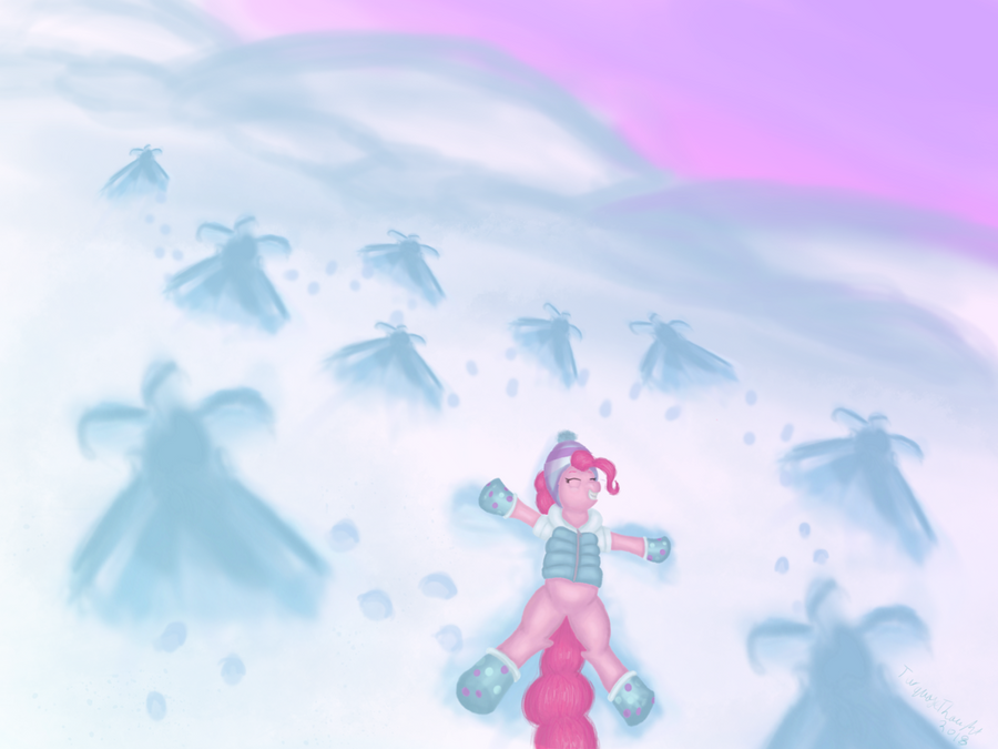 Pinkie's snow angels by TurquoiseThought