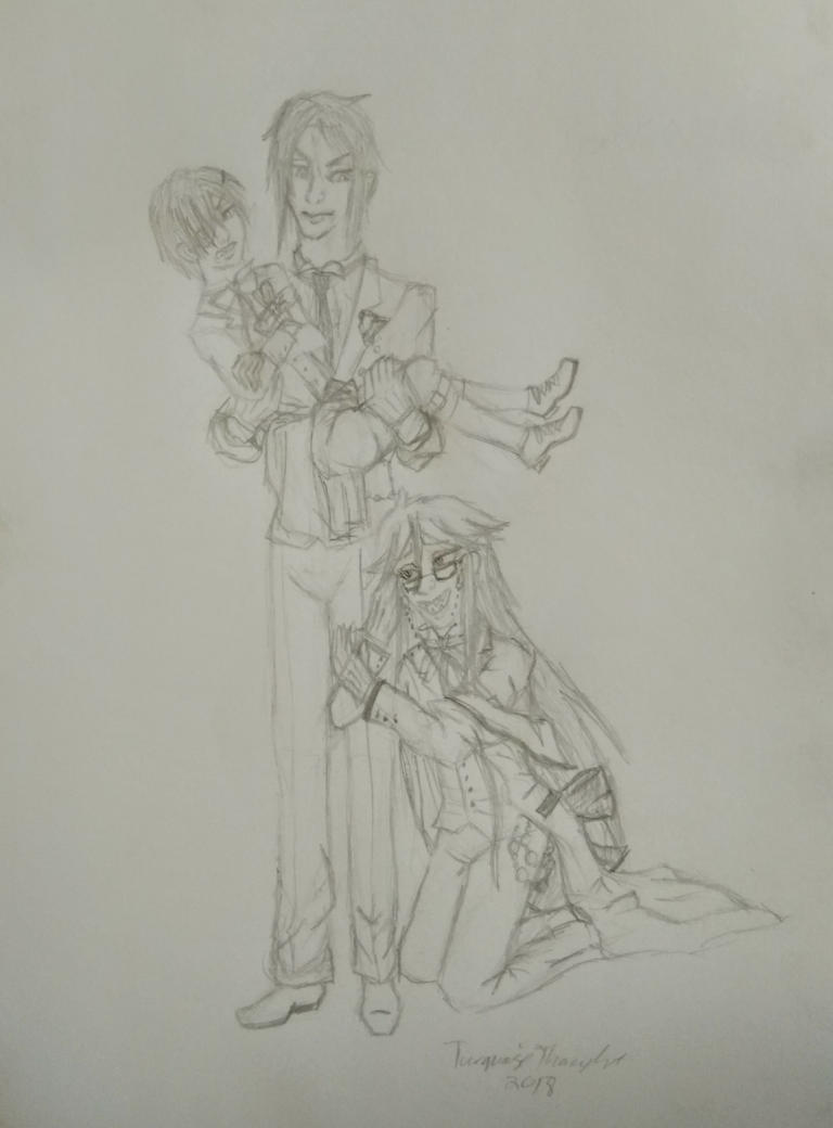 Sketch: A Butler, his master and a shinigami by TurquoiseThought