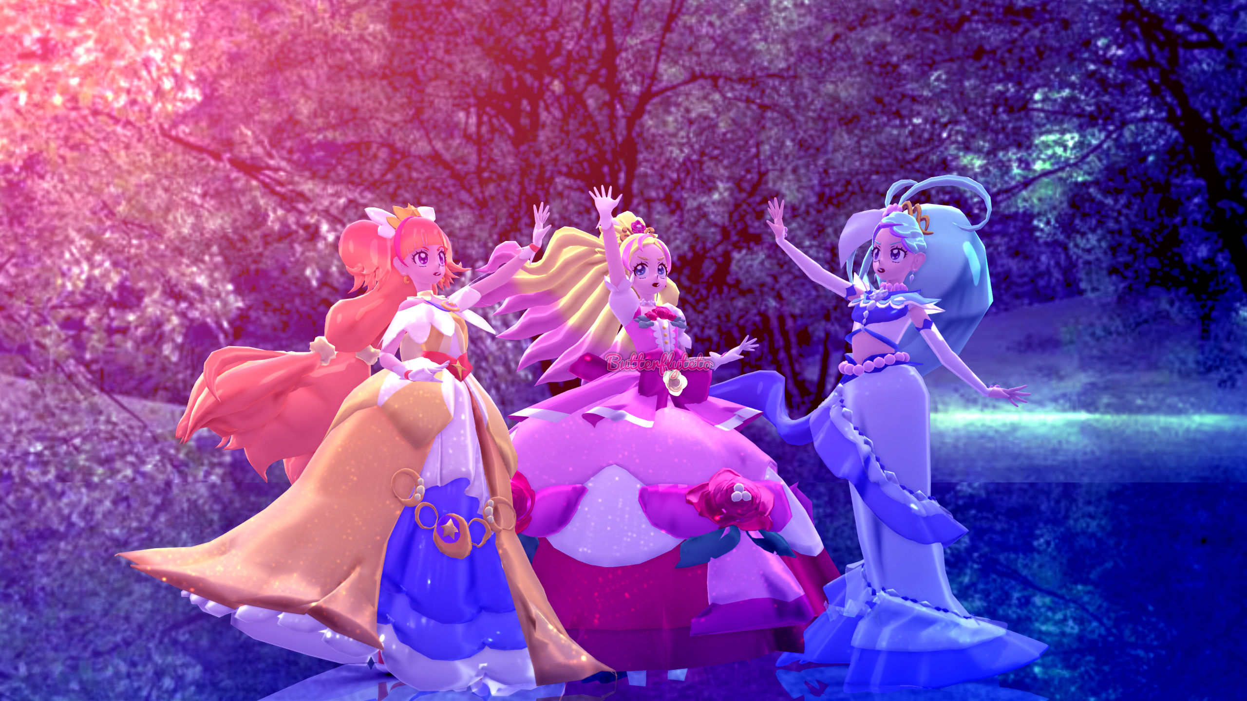 Mmd X Go Princess Precure All Together Now By Butterflyteto On