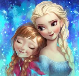 Frozen Elsa and Anna fan art by Angju