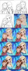 Frozen Elsa and Anna fan art Tutorials by Angju