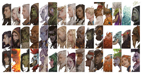 Portrait of Heroes in World of Warcraft by Angju
