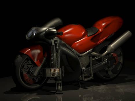 Motorcycle and Machine Gun