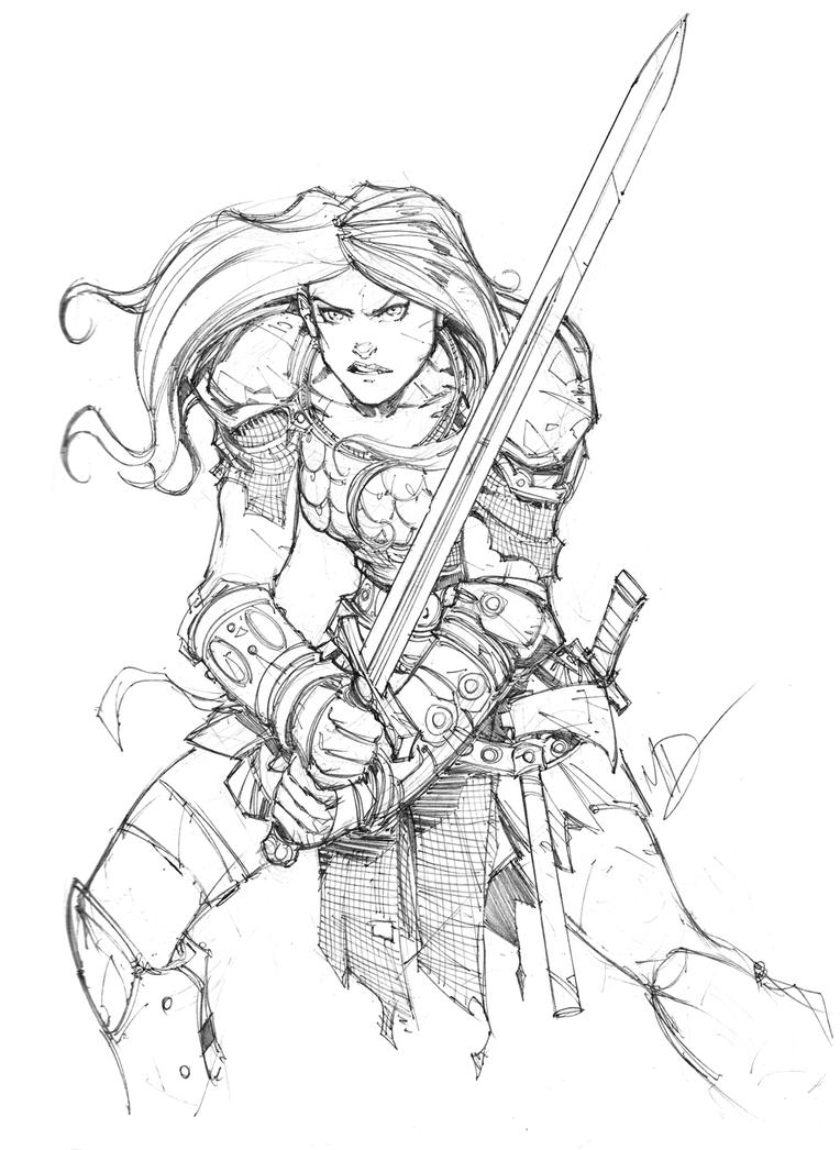 Red Sonja Sketch by Max-Dunbar