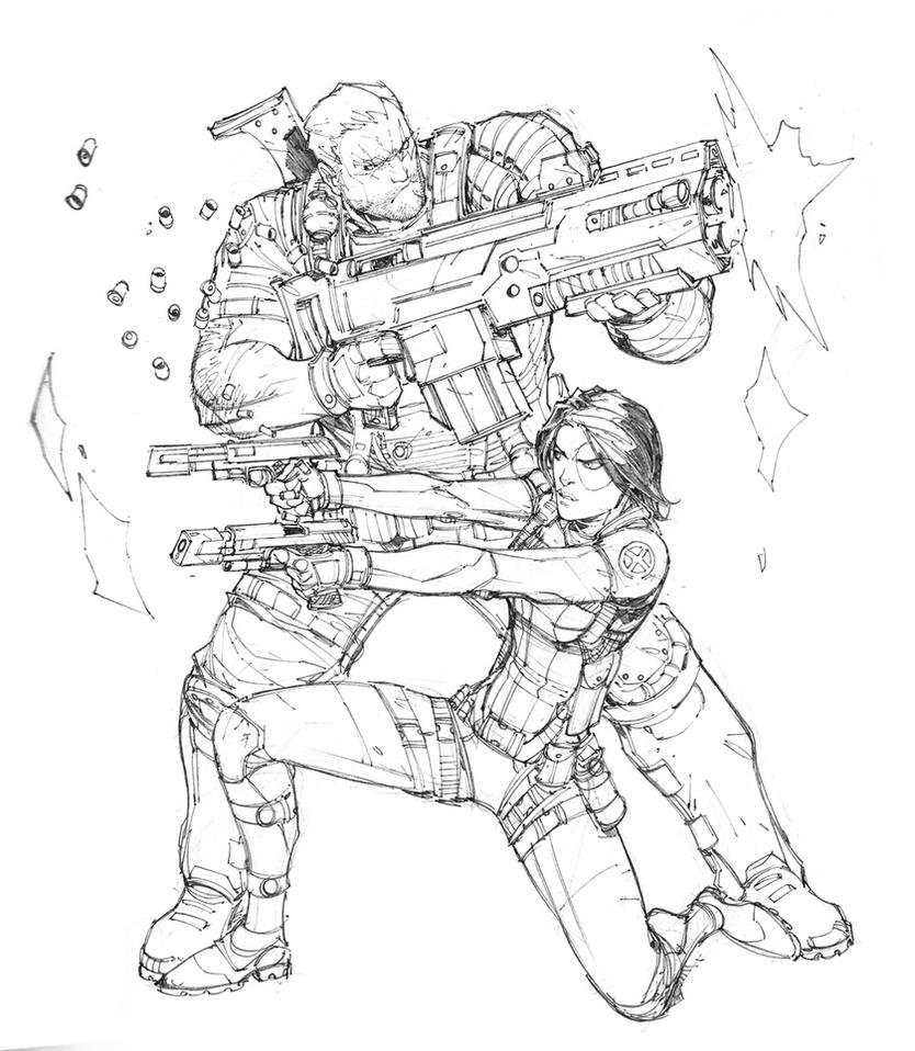 Cable and domino by max dunbar on deviantart - Coloriage domino ...