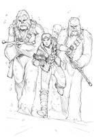 Leia and her wookie strikeforce by Max-Dunbar