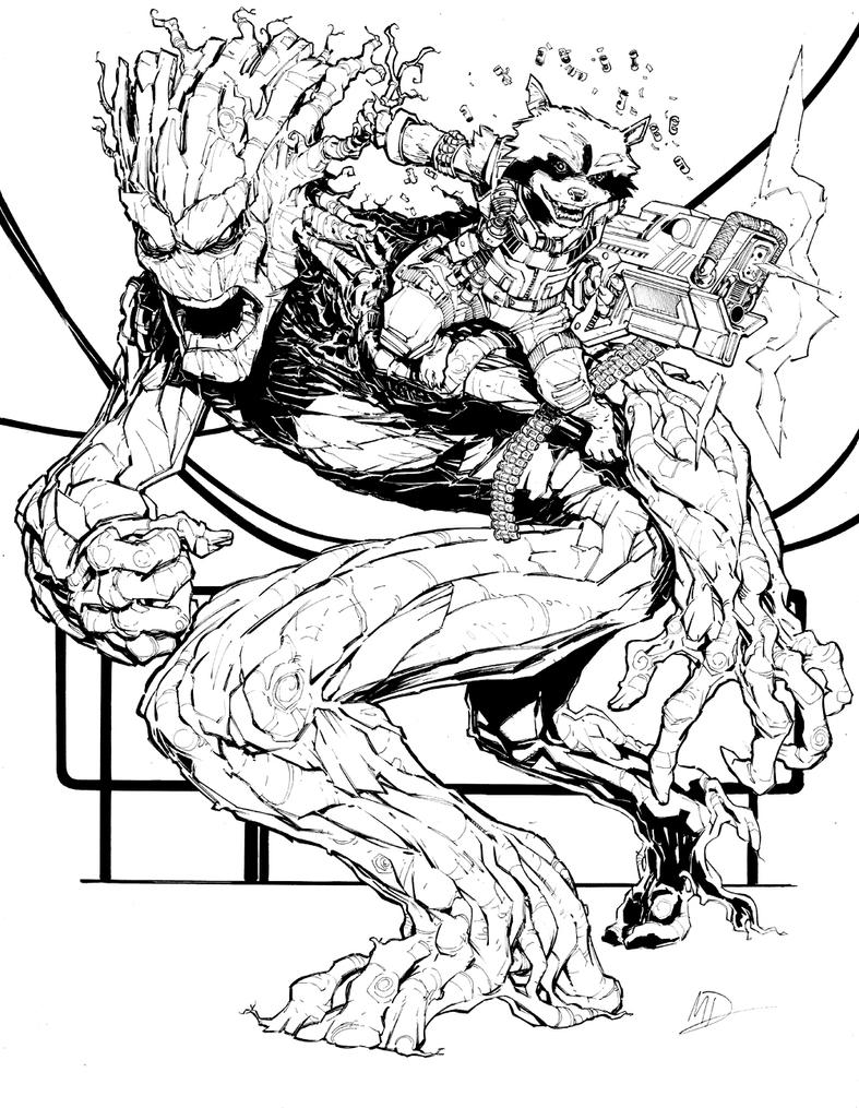 Groot and rocket by max dunbar on deviantart - Coloriage dc comics ...