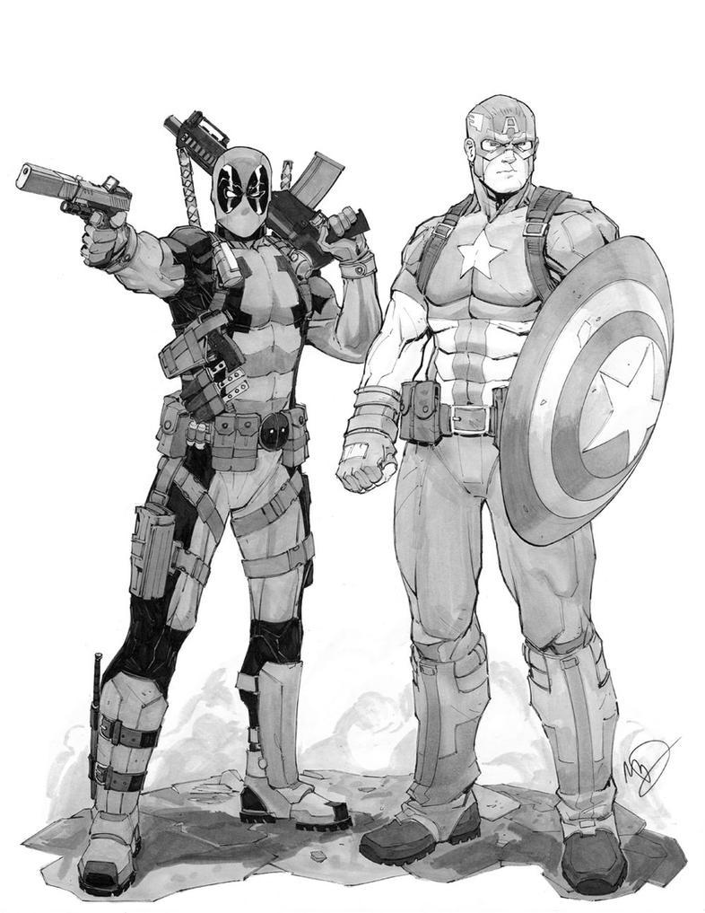 Deadpool and Captain America by Max-Dunbar