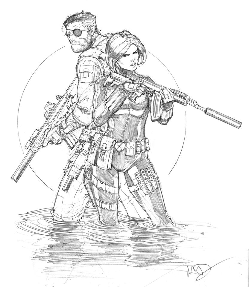 Free Nick Fury From Avengers Coloring Pages: Black Widow And Nick Fury By Max-Dunbar On DeviantArt