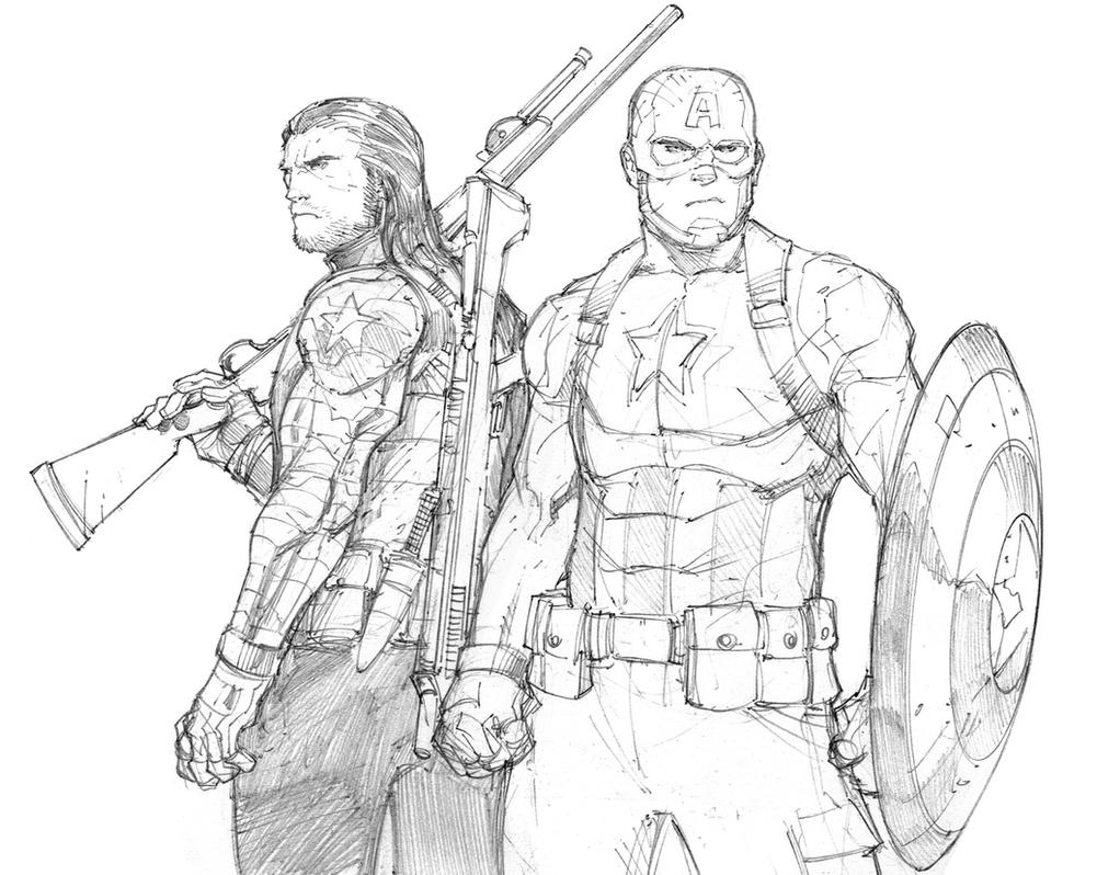 Captain America Pencil Coloring Pages