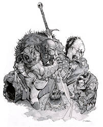 An Orc, a Goblin, and a Vulture