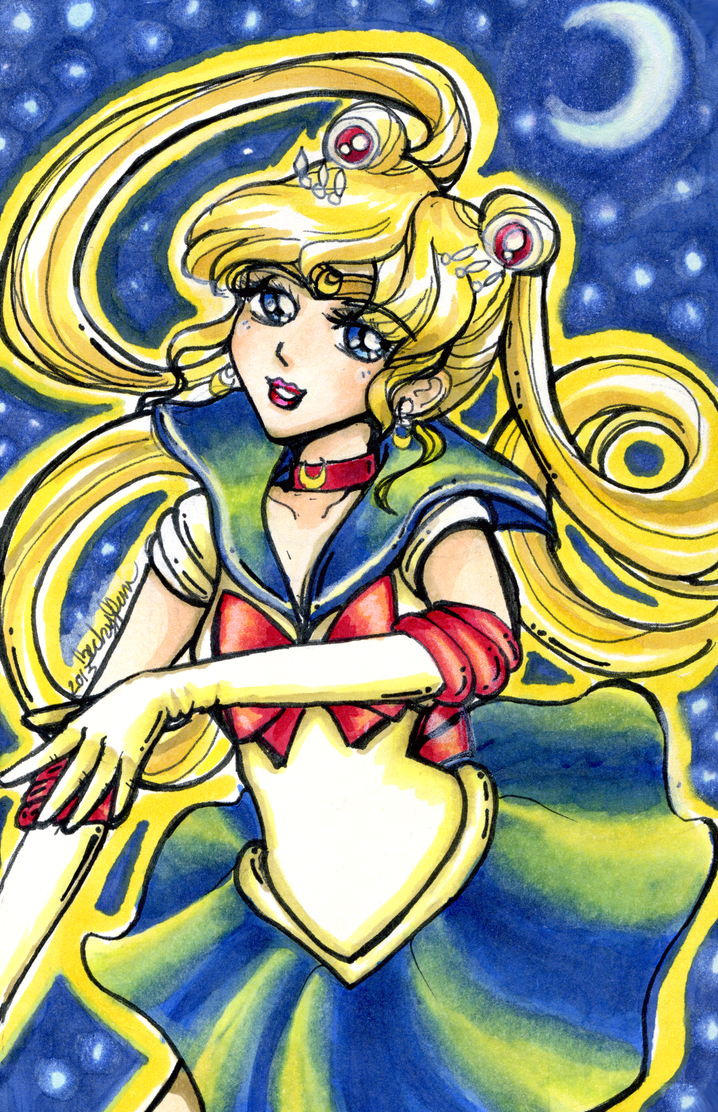 Sailor Moon Copic Moleskine Drawing by BeckyPennArt