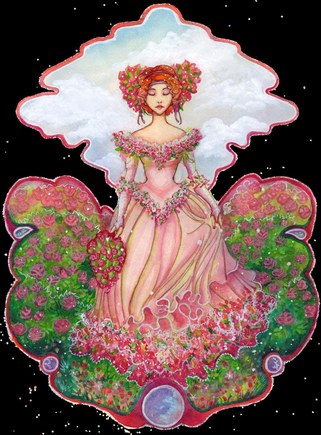 Rose Garden Valentine Watercolor by BeckyPennArt