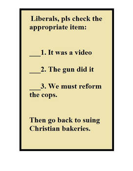 Liberals, Pls Check One.