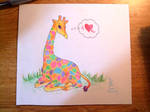 Giraffe, rainbows, hearts